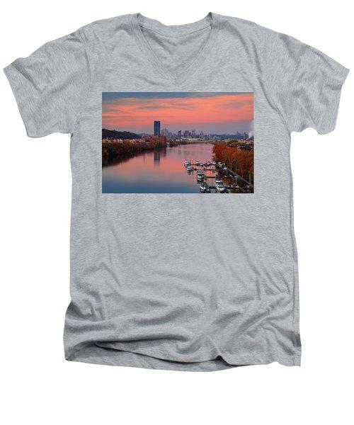 Pittsburgh 31st Street Bridge  Men's V-Neck T-Shirt by Emmanuel Panagiotakis