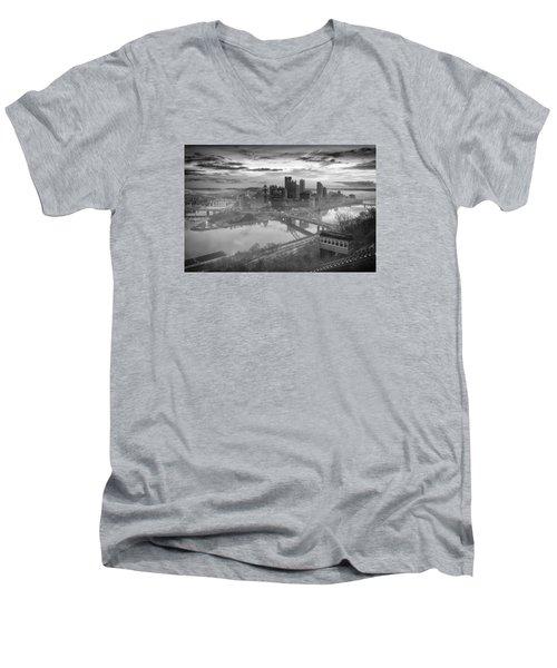 Pittsburgh Architecture 10 Bw Men's V-Neck T-Shirt by Emmanuel Panagiotakis