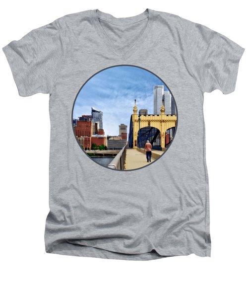 Pittsburgh Pa - Crossing The Smithfield Street Bridge Men's V-Neck T-Shirt by Susan Savad