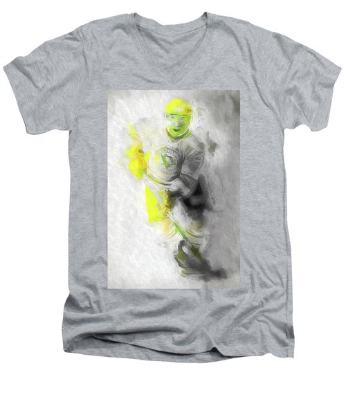 Men's V-Neck T-Shirt featuring the photograph Pittsburgh Penguins Nhl Sidney Crosby Painting Fantasy by David Haskett