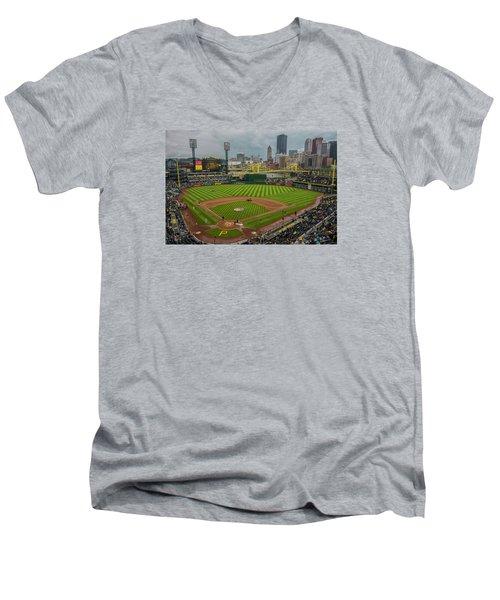 Pittsburgh Pirates Pnc Park 5569 Men's V-Neck T-Shirt by David Haskett