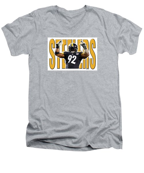 Men's V-Neck T-Shirt featuring the digital art Pittsburgh Steelers by Stephen Younts