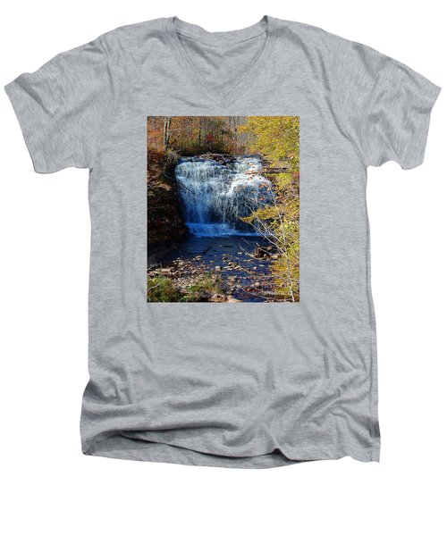 Men's V-Neck T-Shirt featuring the photograph Pixley Falls State Park by Diane E Berry