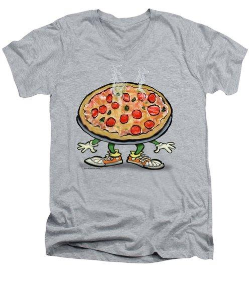 Pizza Men's V-Neck T-Shirt by Kevin Middleton