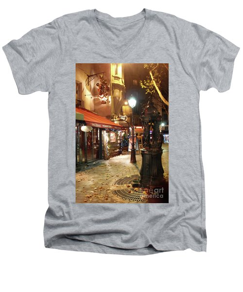 Place St Michel To Rue Saint-andre Des Arts Men's V-Neck T-Shirt by Felipe Adan Lerma