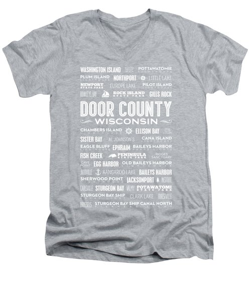 Places Of Door County On Blue Men's V-Neck T-Shirt