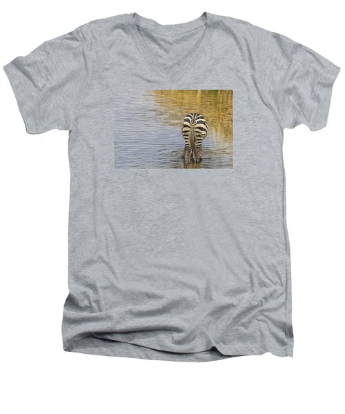 Men's V-Neck T-Shirt featuring the tapestry - textile Plains Zebra by Kathy Adams Clark