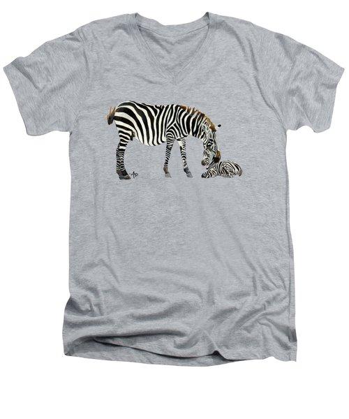 Plains Zebras Men's V-Neck T-Shirt by Angeles M Pomata