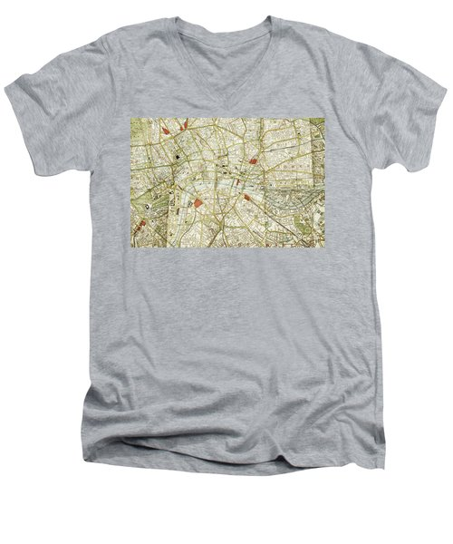 Men's V-Neck T-Shirt featuring the photograph Plan Of Central London by Patricia Hofmeester