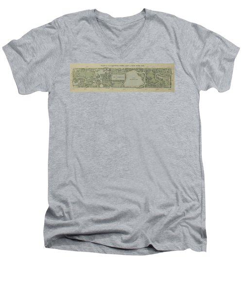 Plan Of Central Park City Of New York 1860 Men's V-Neck T-Shirt by Duncan Pearson