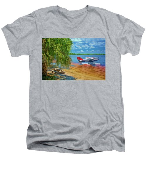 Men's V-Neck T-Shirt featuring the photograph Plane On The Lake by Lewis Mann