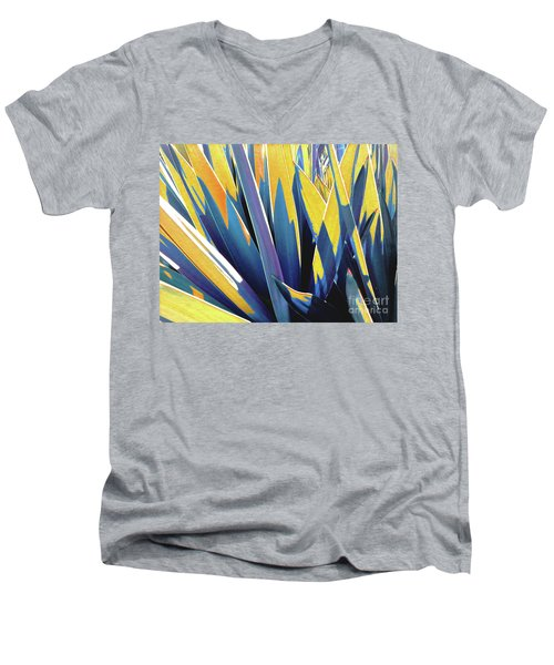Men's V-Neck T-Shirt featuring the photograph Plant Burst - Yellow by Rebecca Harman