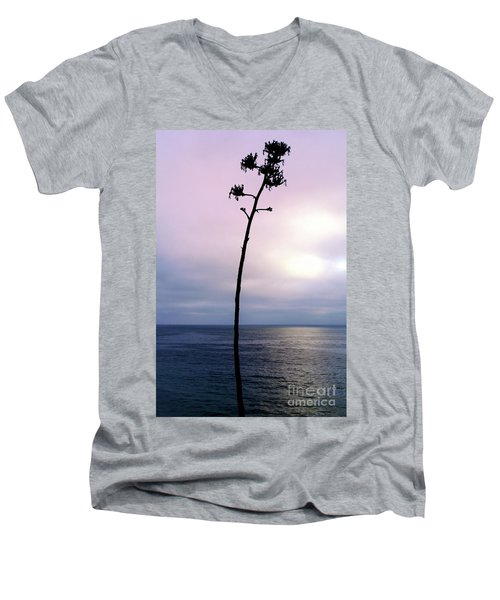 Men's V-Neck T-Shirt featuring the photograph Plant Silhouette Over Ocean by Mariola Bitner