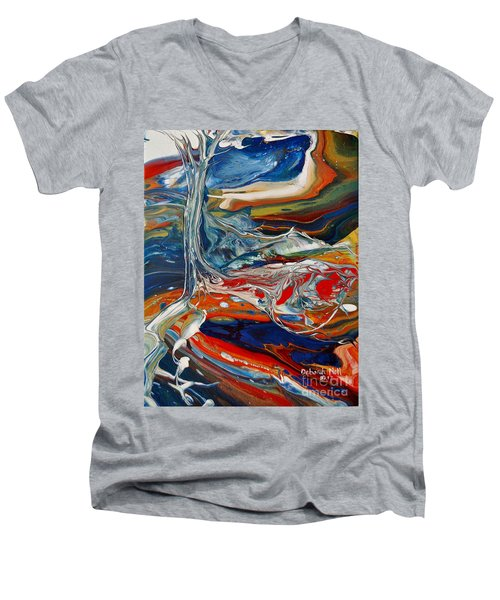 Men's V-Neck T-Shirt featuring the painting Planted By The Waters by Deborah Nell