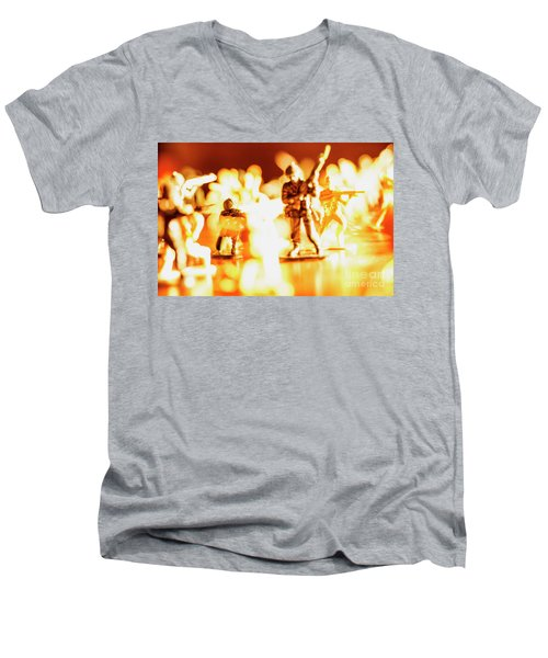 Men's V-Neck T-Shirt featuring the photograph Plastic Army Men 1 by Micah May