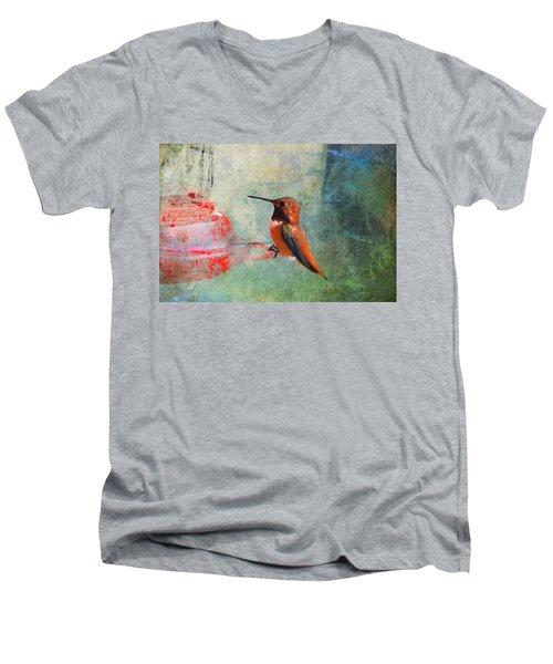 Plate 048 - Hummingbird Grunge Series Men's V-Neck T-Shirt