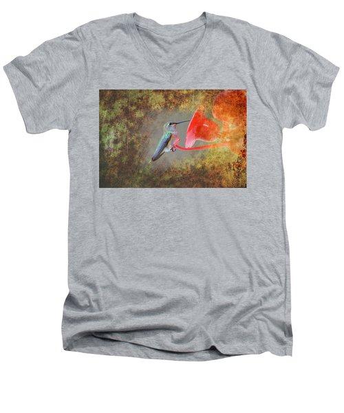 Plate 153 - Hummingbird Grunge Series Men's V-Neck T-Shirt