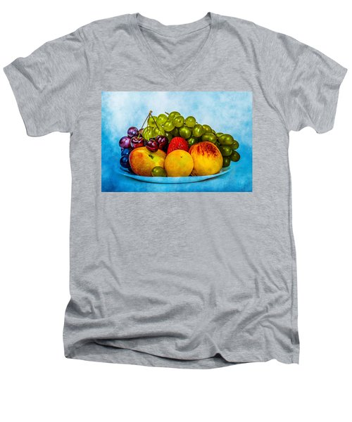 Men's V-Neck T-Shirt featuring the photograph Plate Of Fresh Fruits by Alexander Senin