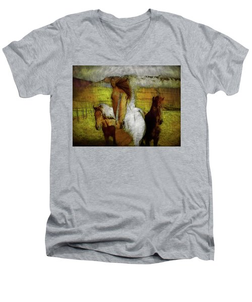 Men's V-Neck T-Shirt featuring the photograph Plateau Ponies by Bellesouth Studio