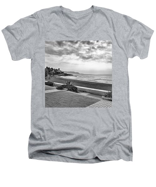 Playa Burriana, Nerja Men's V-Neck T-Shirt by John Edwards
