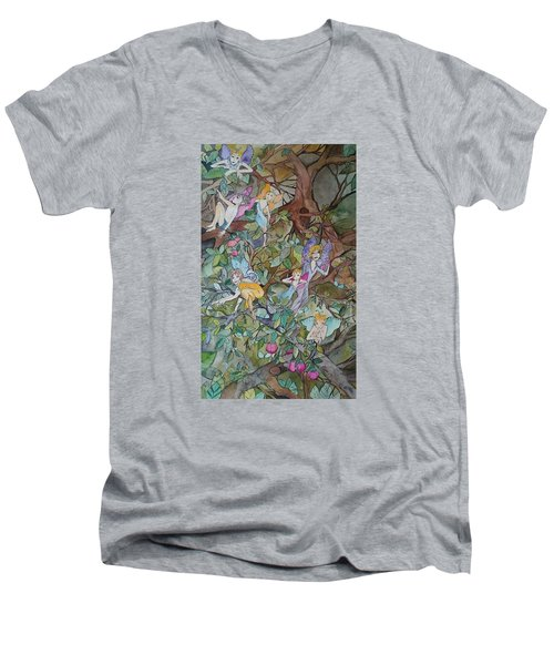 Playful Men's V-Neck T-Shirt by Claudia Cole Meek