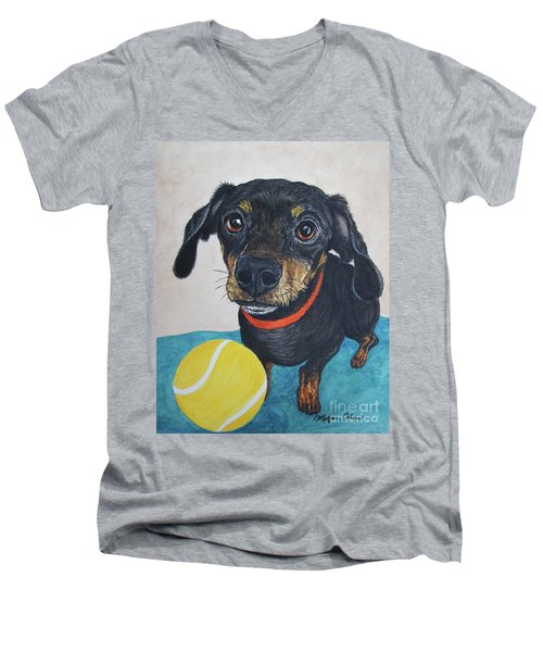 Playful Dachshund Men's V-Neck T-Shirt by Megan Cohen