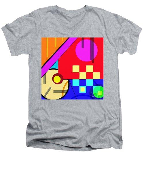 Men's V-Neck T-Shirt featuring the digital art Playful by Silvia Ganora