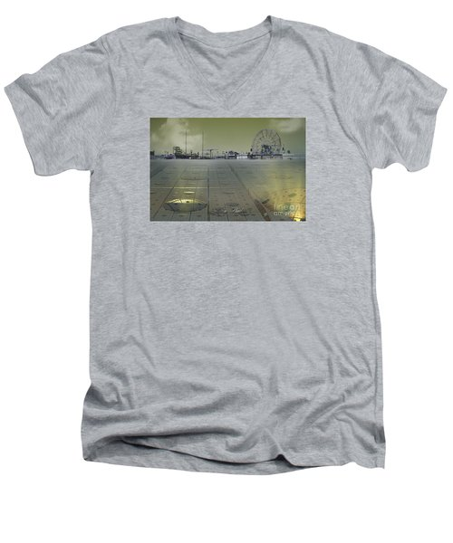 Men's V-Neck T-Shirt featuring the digital art Playground On Planet X by Melissa Messick