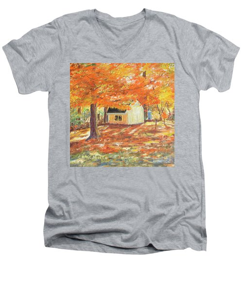 Men's V-Neck T-Shirt featuring the painting Playhouse In Autumn by Carol L Miller