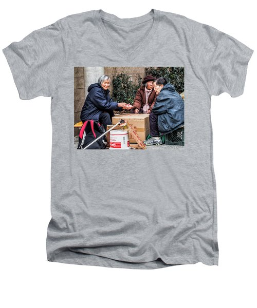 Playing Cards In Chinatown Men's V-Neck T-Shirt