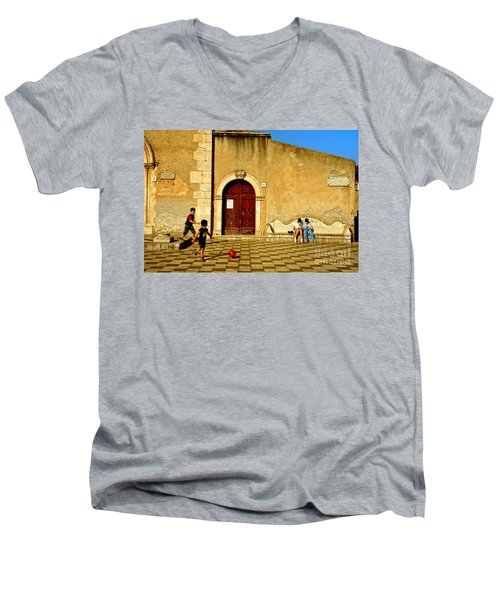 Playing In Taormina Men's V-Neck T-Shirt by Silvia Ganora