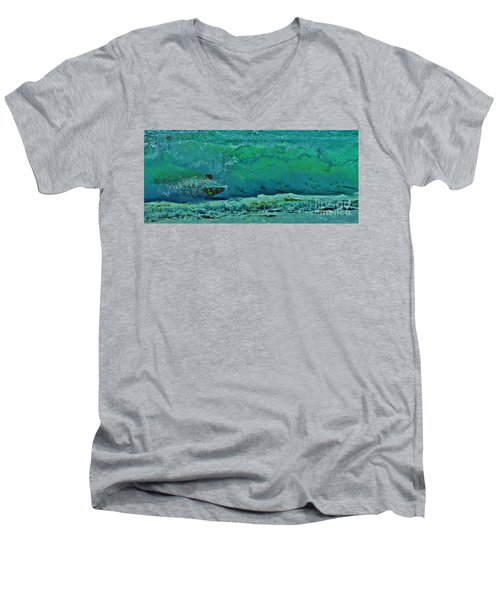 Playing In The Shore Break Men's V-Neck T-Shirt by Craig Wood