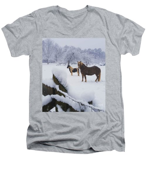 Playing In The Snow Men's V-Neck T-Shirt