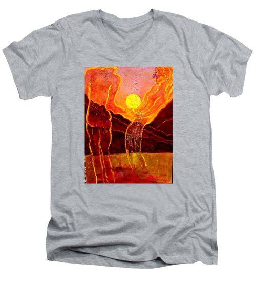 Playing With The Moon Men's V-Neck T-Shirt
