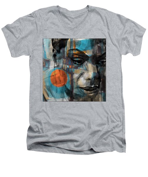 Men's V-Neck T-Shirt featuring the mixed media Please Don't Let Me Be Misunderstood by Paul Lovering