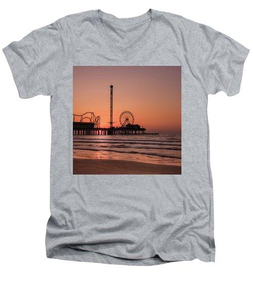 Pleasure Pier At Sunrise Men's V-Neck T-Shirt