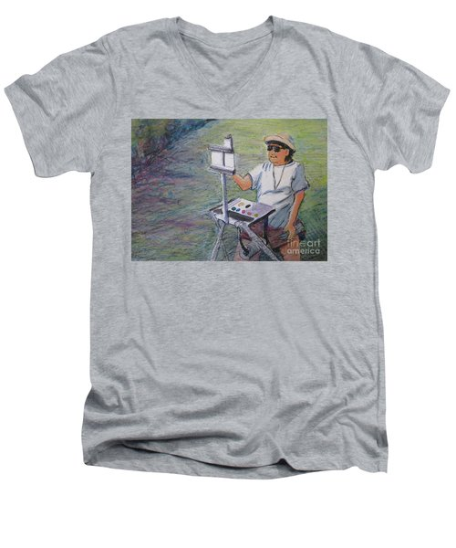Men's V-Neck T-Shirt featuring the painting Plein-air Painter Bj by Gretchen Allen