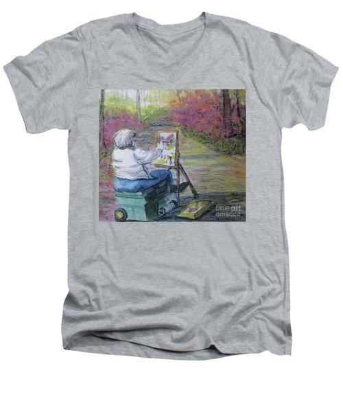 Men's V-Neck T-Shirt featuring the painting Plein-air Painter Lady by Gretchen Allen
