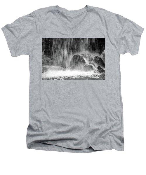 Plitvice Waterfall Black And White Closeup - Plitivice Lakes National Park, Croatia Men's V-Neck T-Shirt