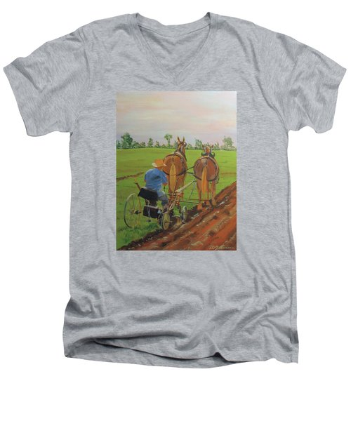 Plowing Match Men's V-Neck T-Shirt by David Gilmore