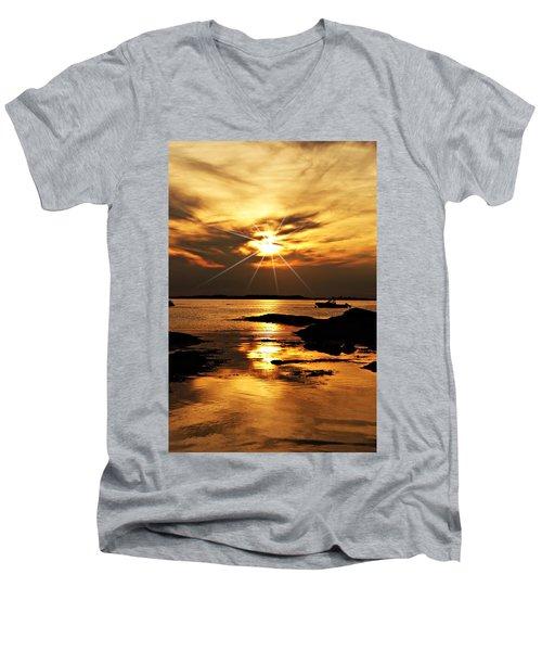 Plum Cove Beach Sunset E Men's V-Neck T-Shirt by Joe Faherty
