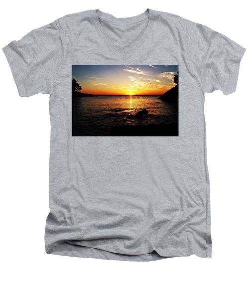 Plum Cove Beach Sunset G Men's V-Neck T-Shirt by Joe Faherty