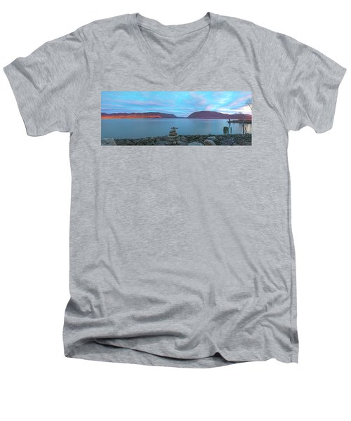 Plum Point Sunset Panorama Men's V-Neck T-Shirt by Angelo Marcialis