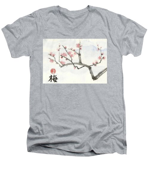 Plum Ume Branch Men's V-Neck T-Shirt