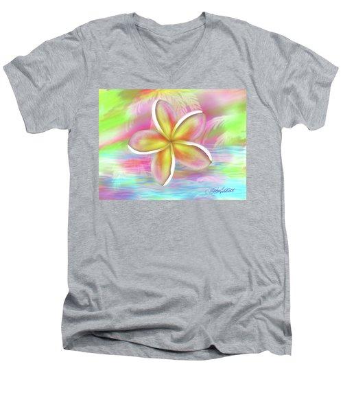 Plumeria Paradise Men's V-Neck T-Shirt by Dani Abbott
