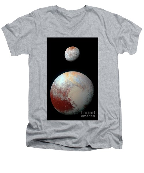 Men's V-Neck T-Shirt featuring the photograph Pluto And Charon by Nicholas Burningham