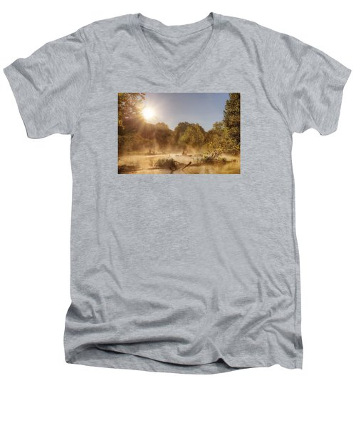 Plying Steamy Waters Men's V-Neck T-Shirt by Robert Charity