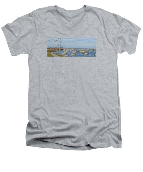 Plymouth Harbor In September Men's V-Neck T-Shirt by Constantine Gregory