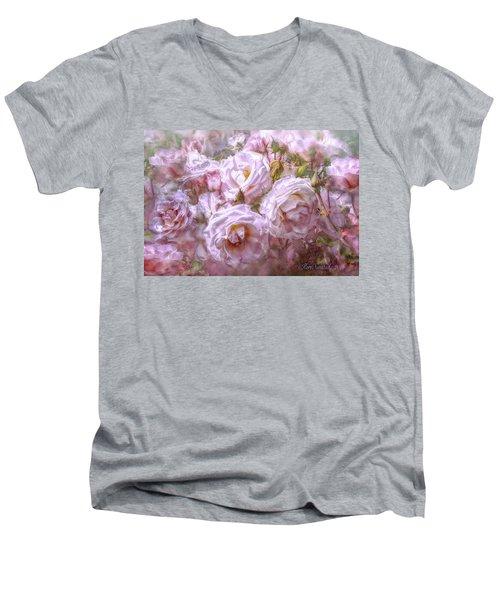 Men's V-Neck T-Shirt featuring the digital art Pocket Full Of Roses by Kari Nanstad