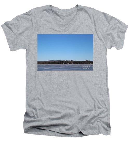 Poconos, The Lake In January Men's V-Neck T-Shirt